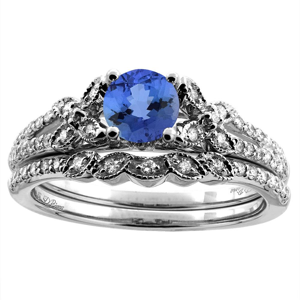 14K White/Yellow Gold Floral Diamond Natural Tanzanite 2pc Engagement Ring Set Round 5 mm, sizes 5-10