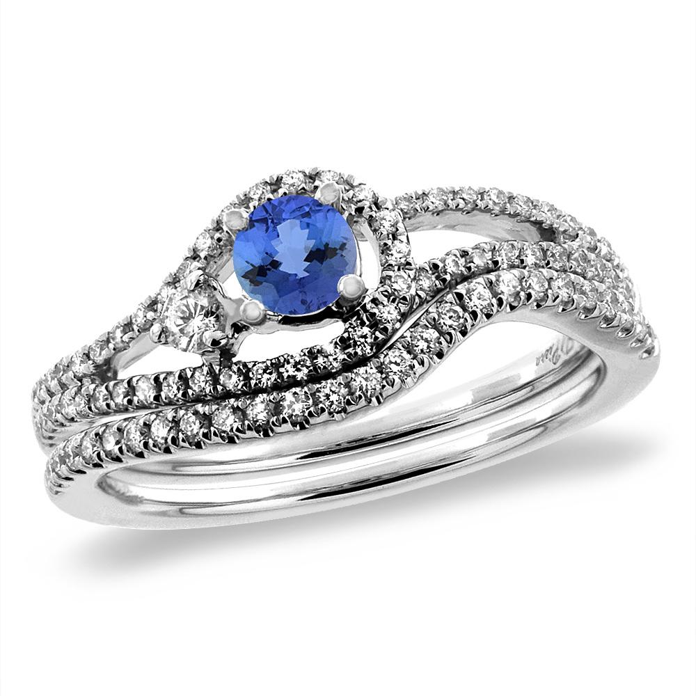 14K White Gold Diamond Natural Tanzanite 2pc Engagement Ring Set Round 5 mm, sizes 5-10
