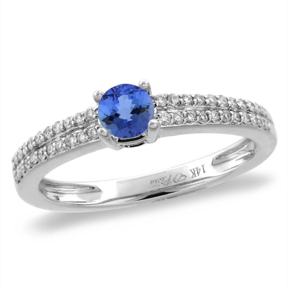 14K White/Yellow Gold Diamond Natural Tanzanite Engagement Ring Round 5 mm, sizes 5-10