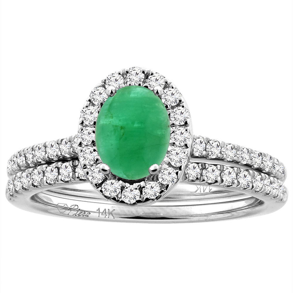 14K White/Yellow Gold Diamond Halo Natural Cabochon Emerald 2pc Engagement Ring Set Oval 7x5 mm, sizes 5-10