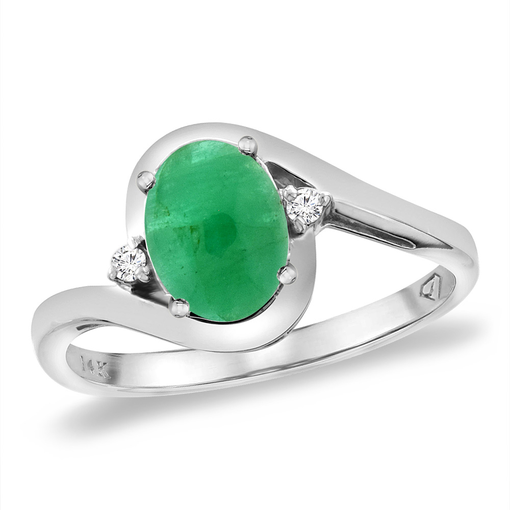 14K White Gold Diamond Natural Cabochon Emerald Bypass Engagement Ring Oval 8x6 mm, sizes 5 -10