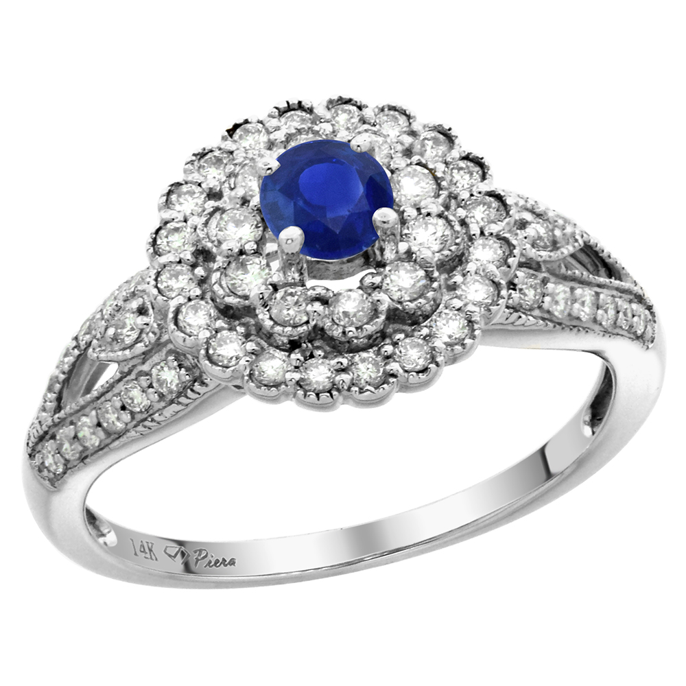 14k Gold 0.46ct Diamond Halo Genuine Ceylon Sapphire Engagement Ring 4mm Round, size 5-10