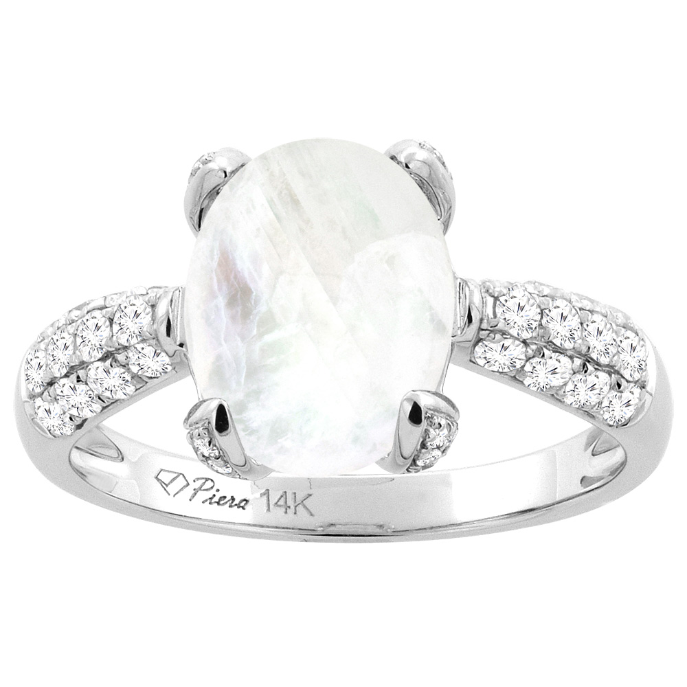 14K White Gold Natural Rainbow Moonstone Engagement Ring Oval 11x9 mm & Diamond Accents, sizes 5 - 10