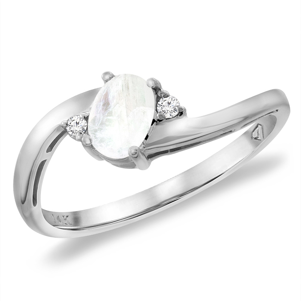 14K White Gold Diamond Natural Rainbow Moonstone Bypass Engagement Ring Oval 6x4 mm, sizes 5 -10