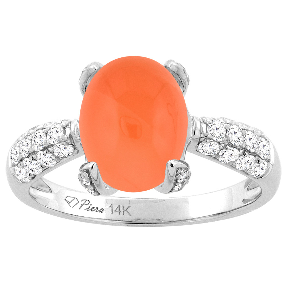 14K White Gold Natural Orange Moonstone Engagement Ring Oval 10x8 mm & Diamond Accents, sizes 5 - 10