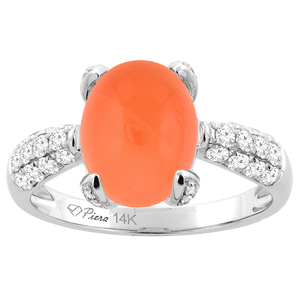14K White Gold Natural Orange Moonstone Engagement Ring Oval 11x9 mm & Diamond Accents, sizes 5 - 10