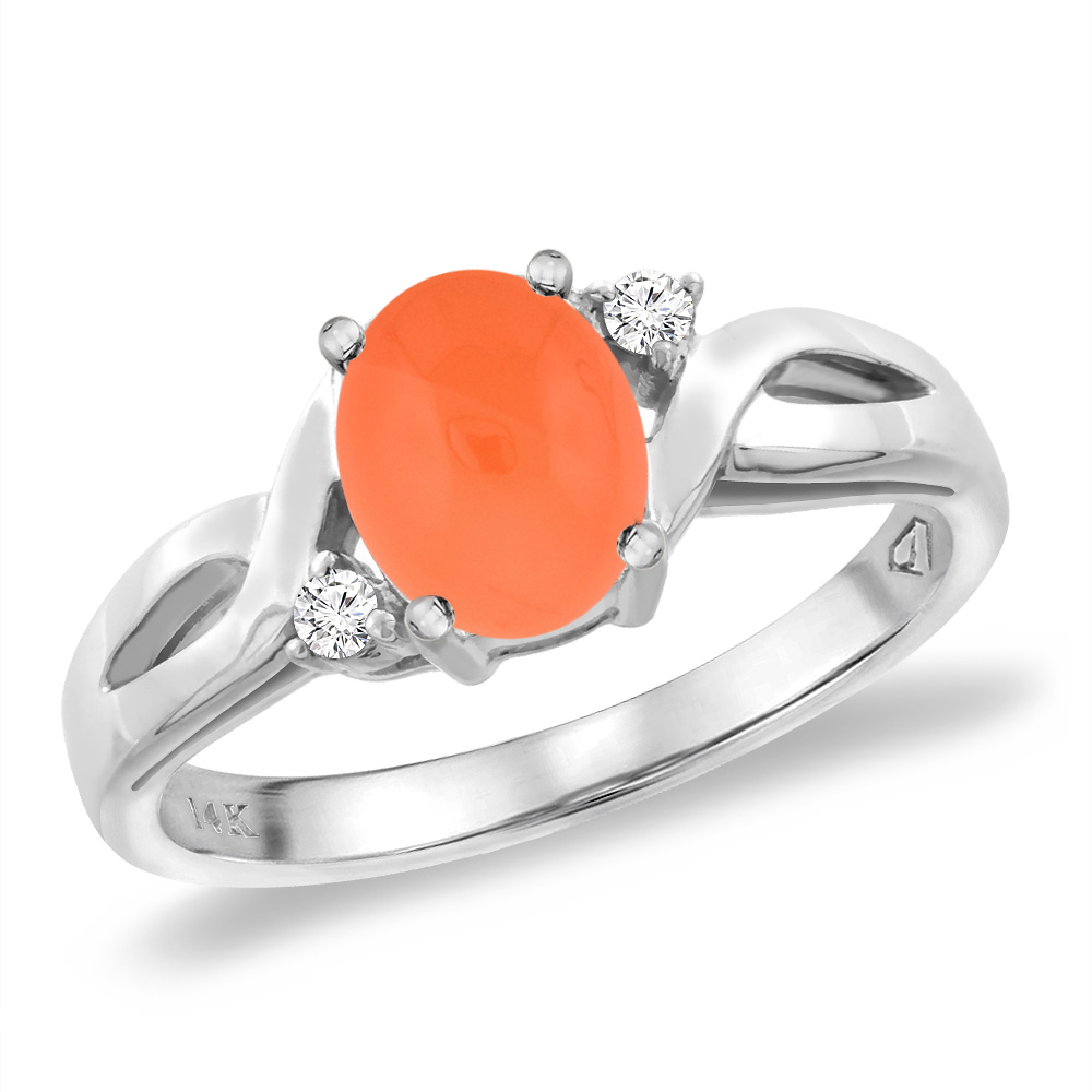 14K White Gold Diamond Natural Orange Moonstone Engagement Ring Oval 8x6 mm, sizes 5 -10