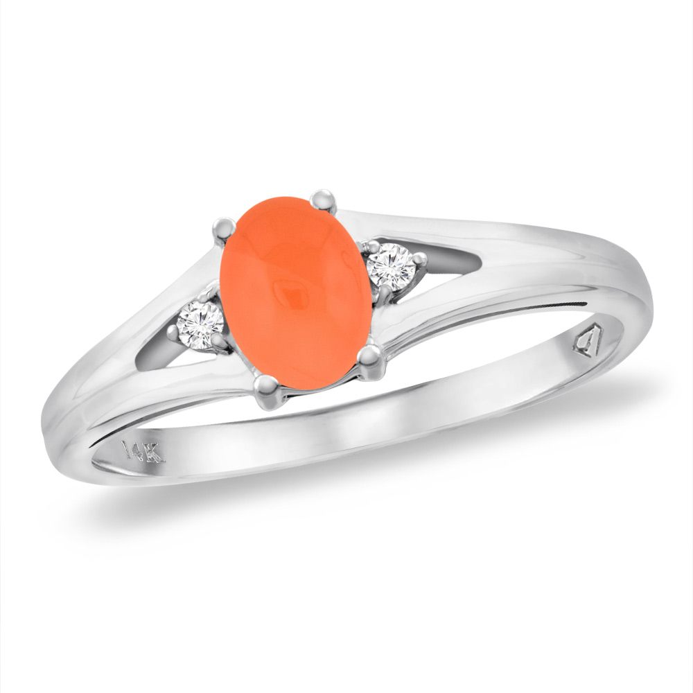 14K White Gold Diamond Natural Orange Moonstone Engagement Ring Oval 6x4 mm, sizes 5 -10