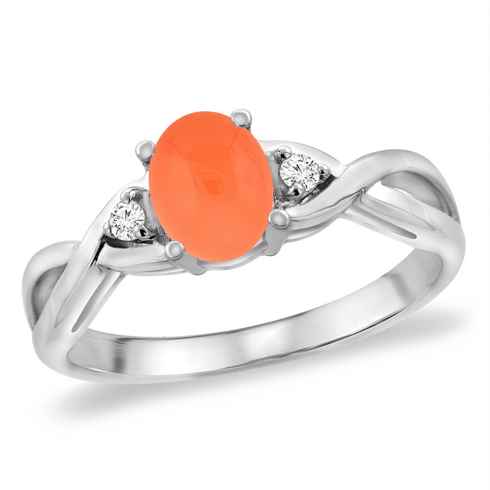 14K White Gold Diamond Natural Orange Moonstone Infinity Engagement Ring Oval 7x5 mm, sizes 5 -10