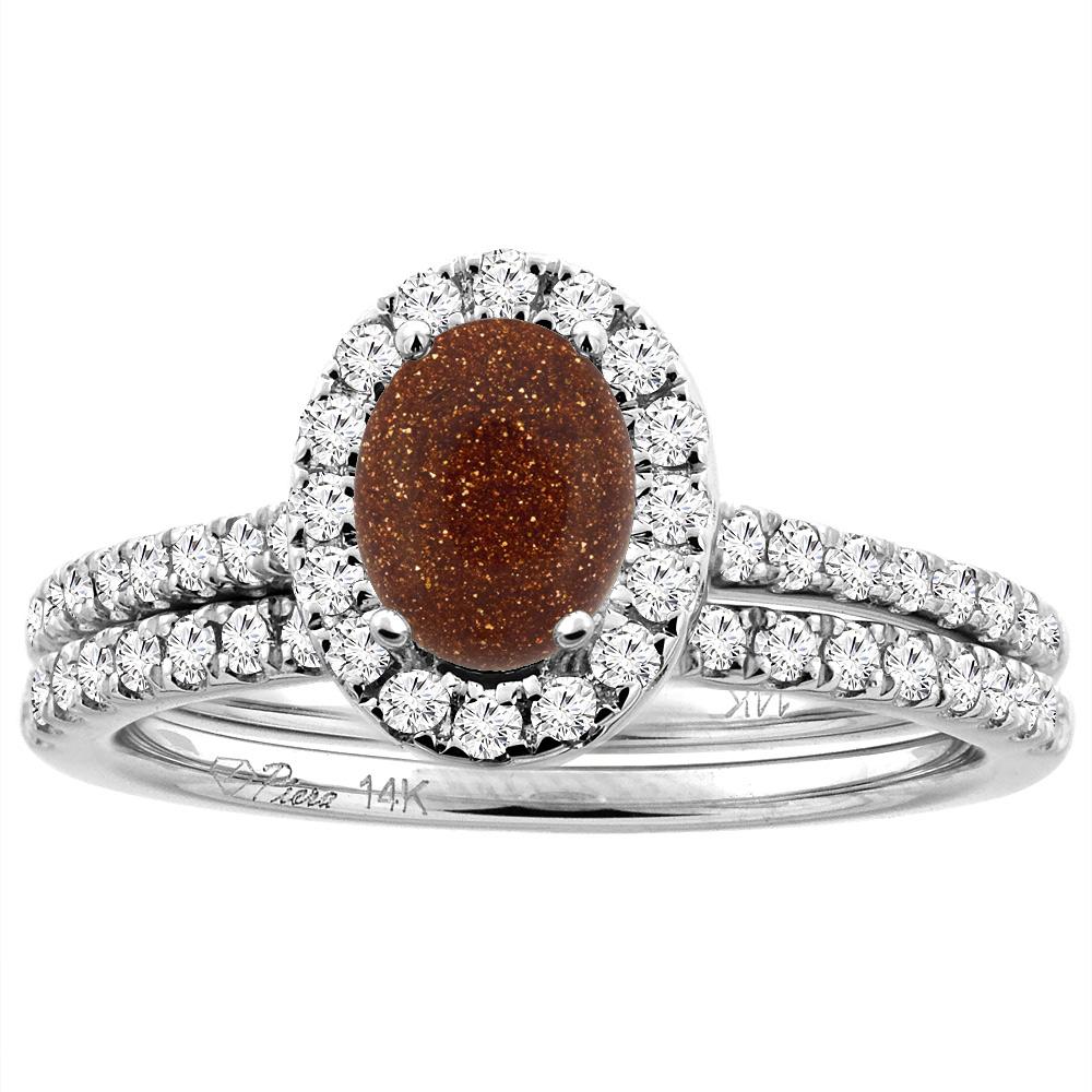 14K White/Yellow Gold Diamond Halo Natural Goldstone 2pc Engagement Ring Set Oval 7x5 mm, sizes 5-10