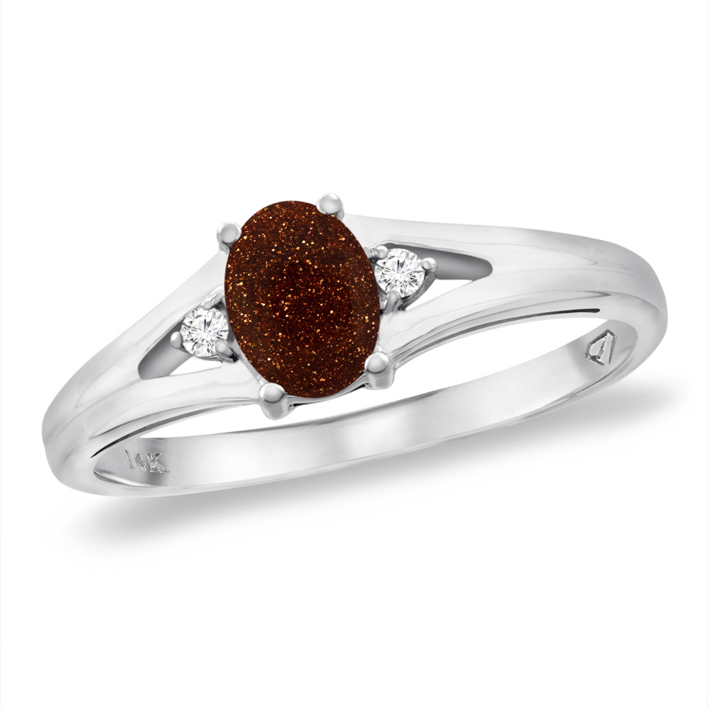 14K White Gold Diamond Natural Goldstone Engagement Ring Oval 6x4 mm, sizes 5 -10