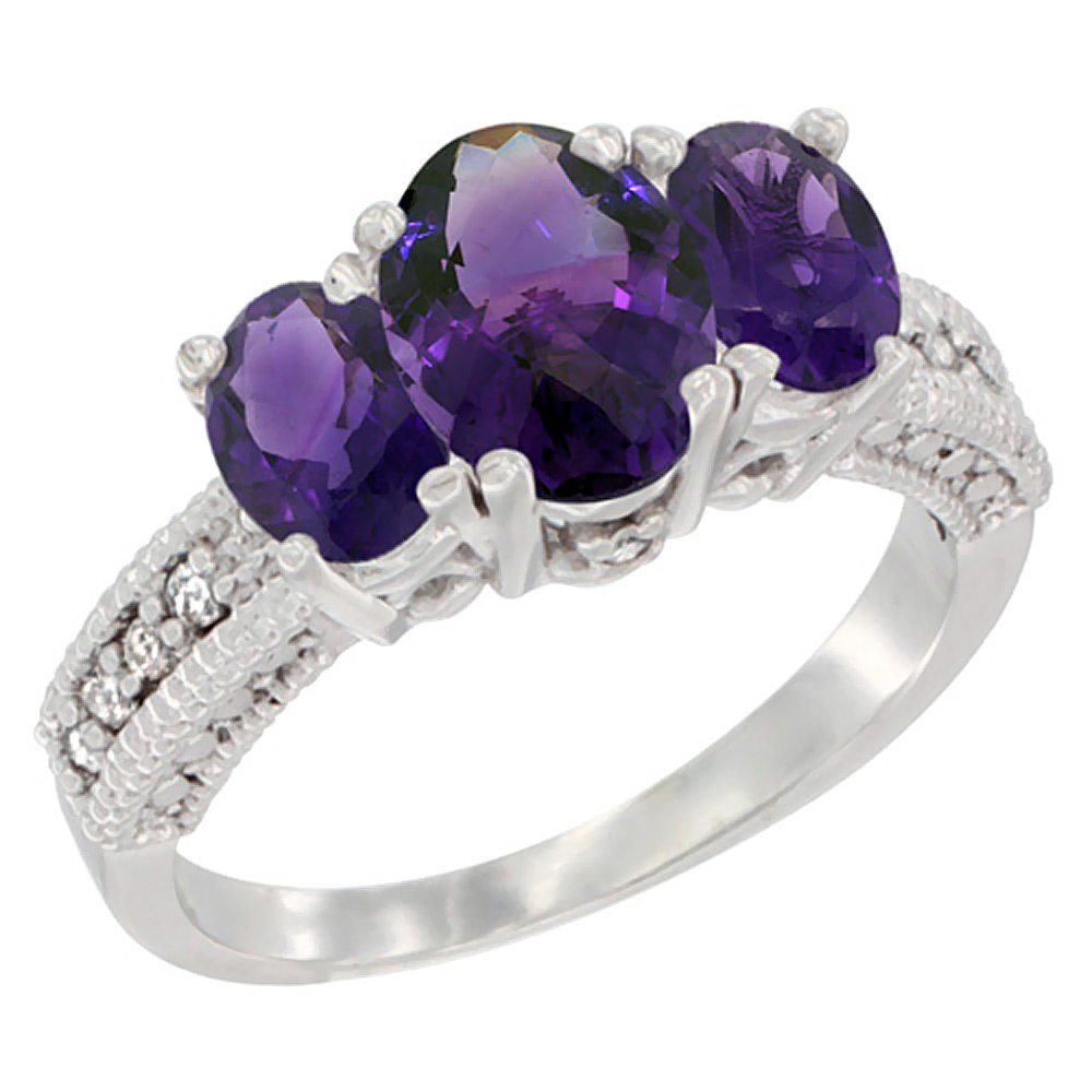 14k Yellow Gold Ladies Oval Natural Amethyst 3-Stone Ring Diamond Accent