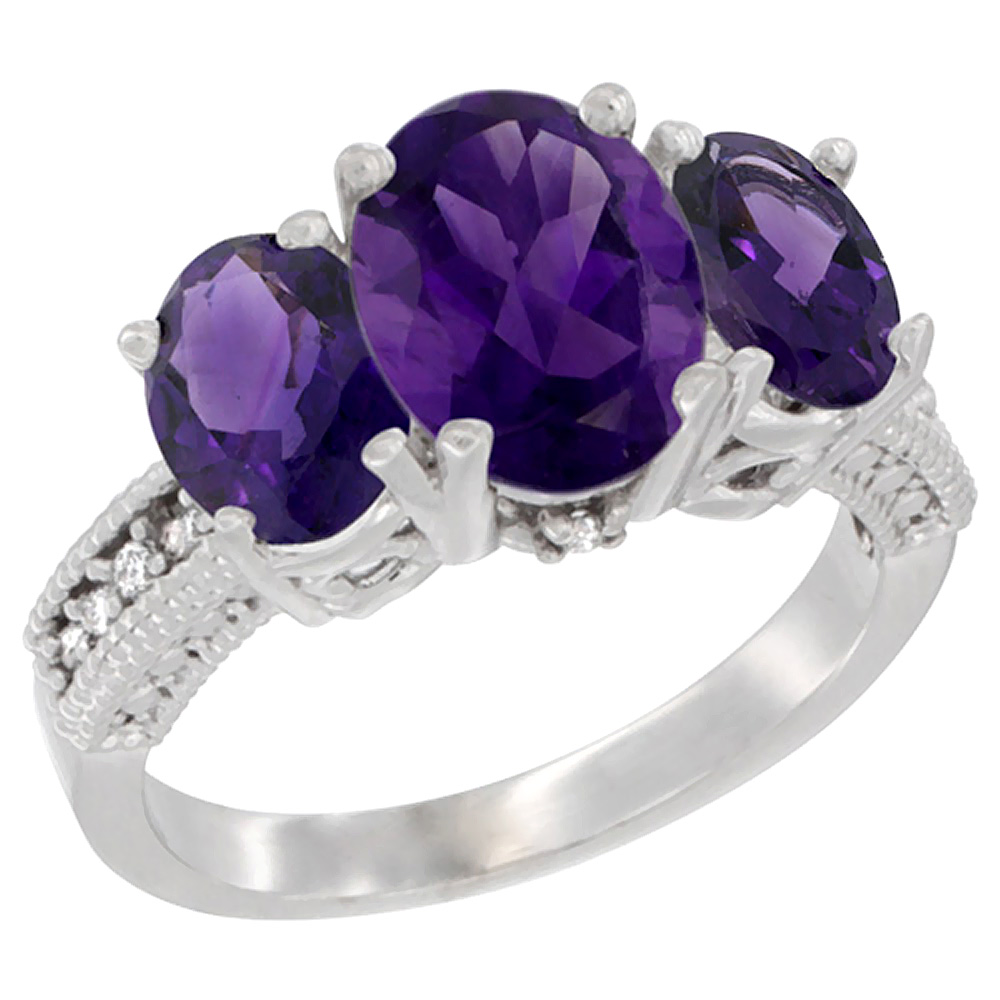 10K White Gold Natural Amethyst Ring Ladies 3-Stone Oval 8x6mm Diamond Accent, sizes 5 - 10
