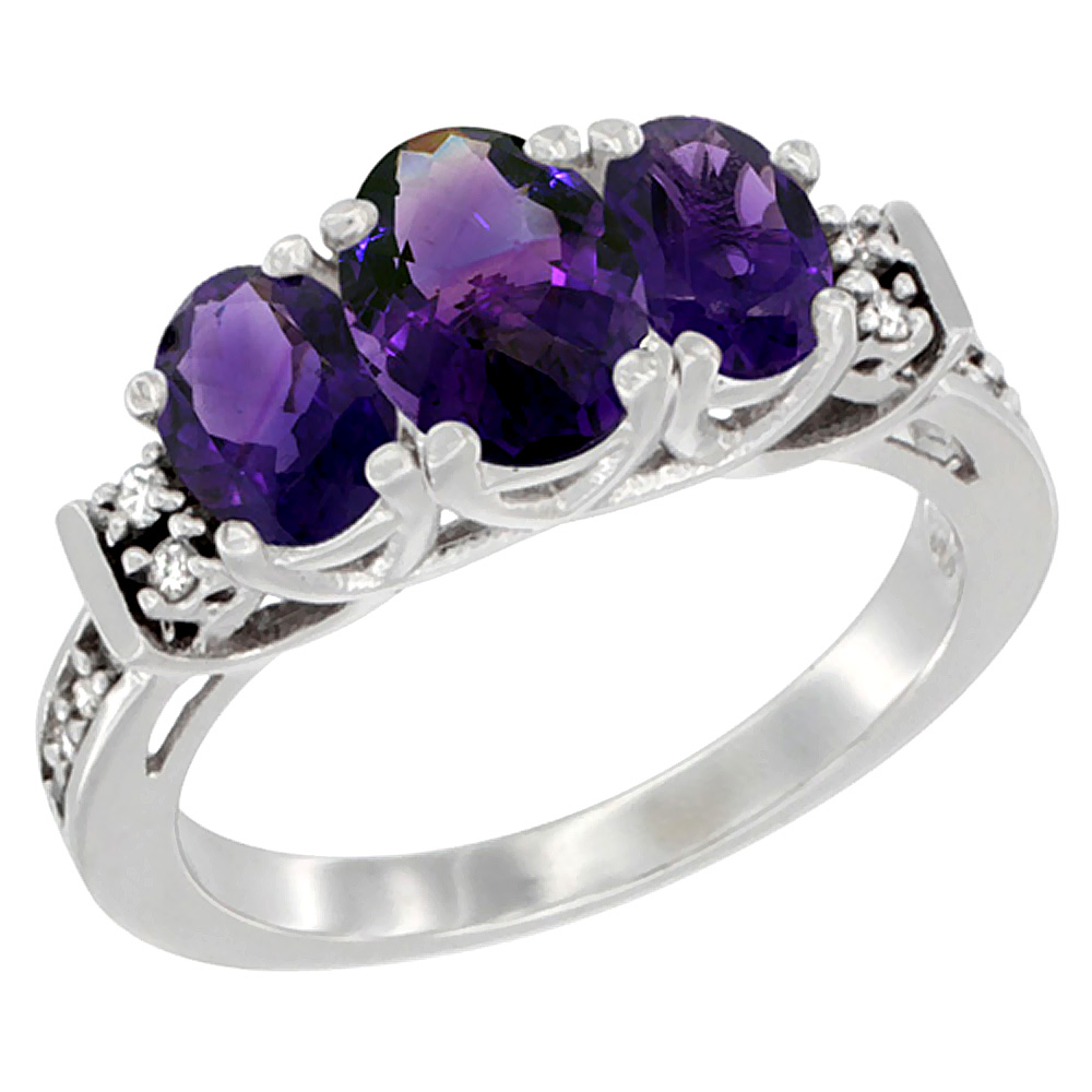 14K White Gold Natural Amethyst Ring 3-Stone Oval Diamond Accent, sizes 5-10