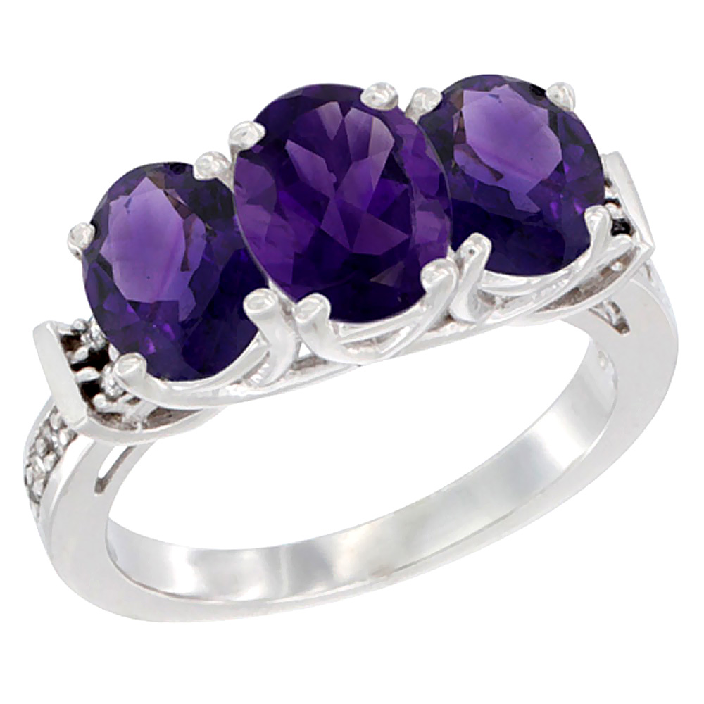 14K White Gold Natural Amethyst Ring 3-Stone Oval Diamond Accent, sizes 5 - 10
