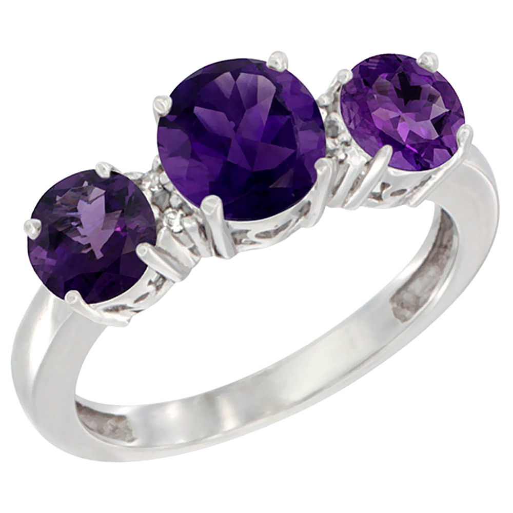 10K White Gold Round 3-Stone Natural Amethyst Ring Diamond Accent, sizes 5 - 10