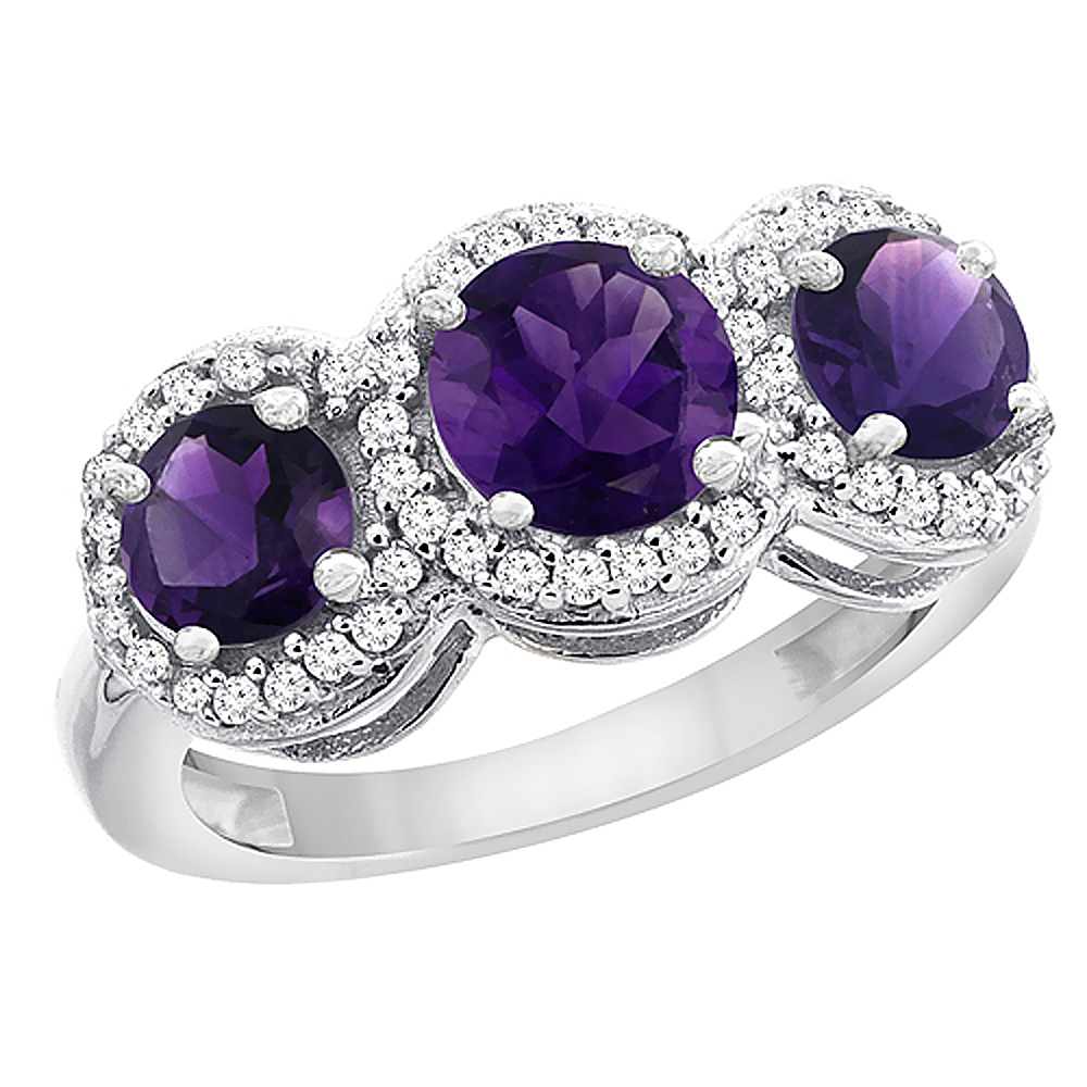 14K White Gold Natural Amethyst Round 3-stone Ring Diamond Accents, sizes 5 - 10