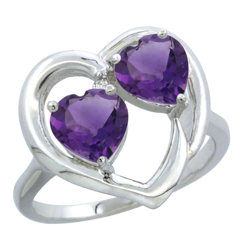 14K White Gold Diamond Two-stone Heart Ring 6 mm Natural Amethyst, sizes 5-10