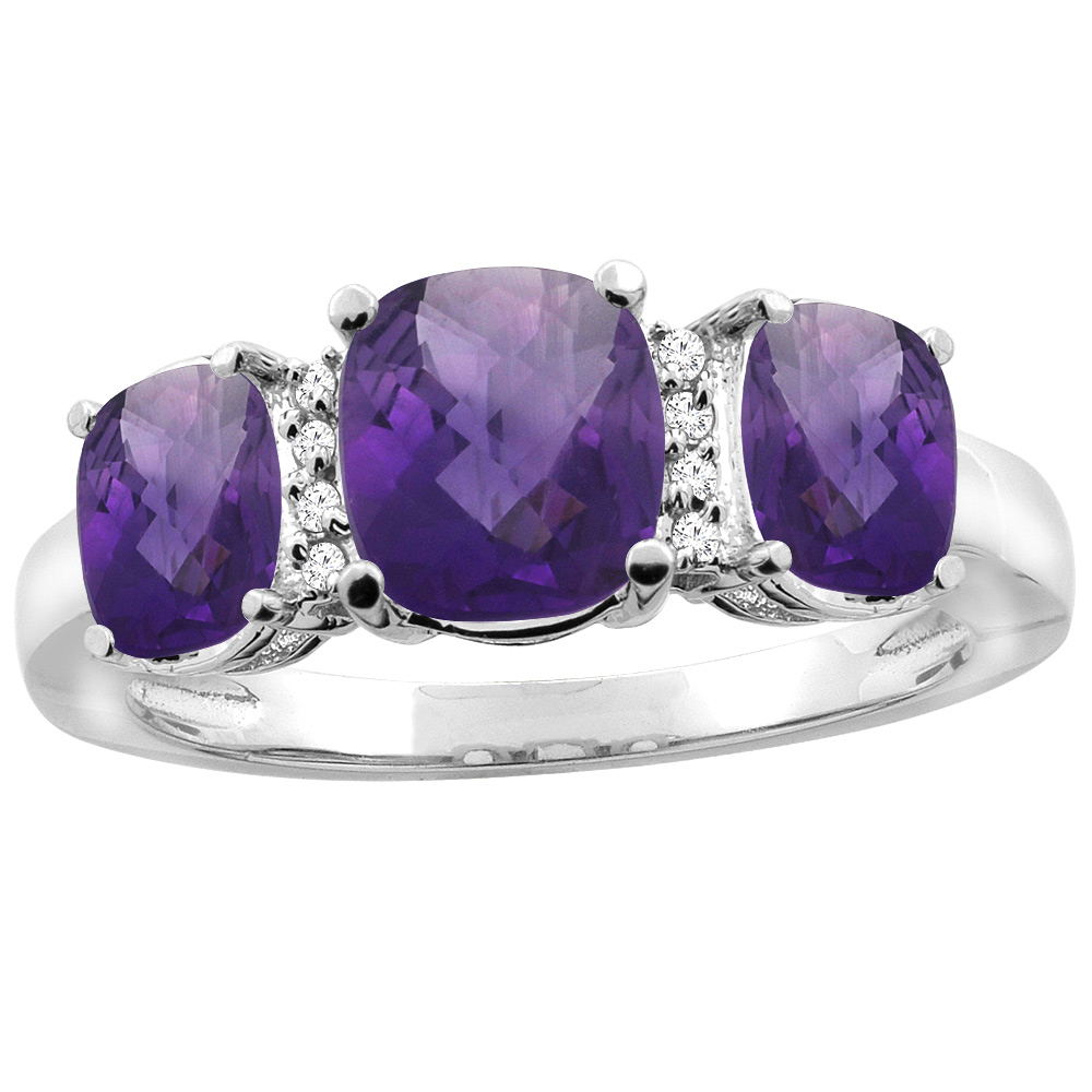 14K White Gold Natural Amethyst 3-stone Ring Cushion 8x6mm Diamond Accent, sizes 5 - 10