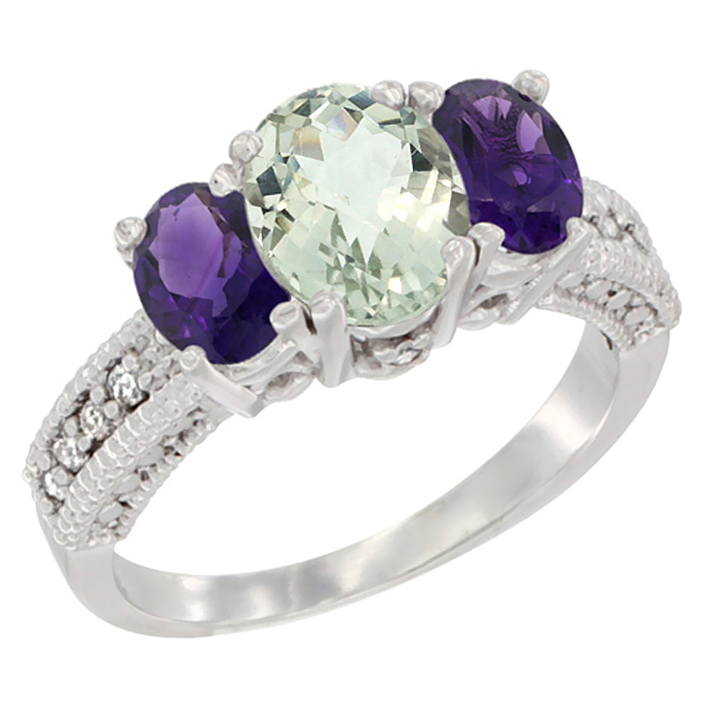 14k Yellow Gold Ladies Oval Natural Green Amethyst 3-Stone Ring with Amethyst Sides Diamond Accent