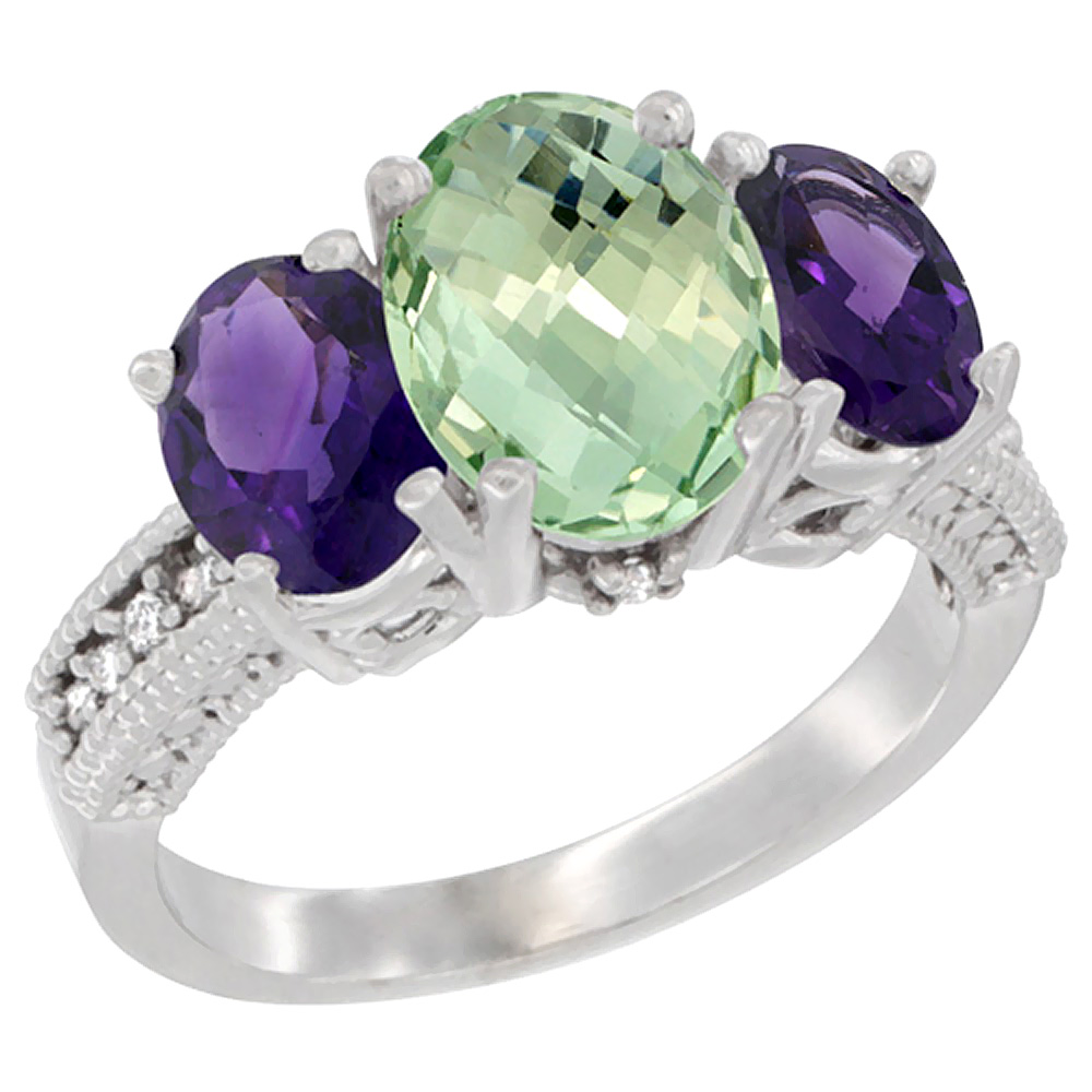 10K White Gold Natural Green Amethyst Ring Ladies 3-Stone Oval 8x6mm with Amethyst Sides Diamond Accent, sizes 5 - 10