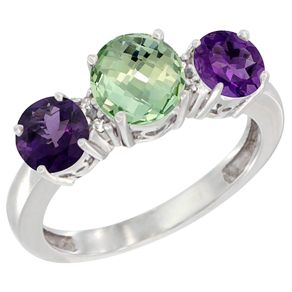 10K White Gold Round 3-Stone Natural Green Amethyst Ring & Amethyst Sides Diamond Accent, sizes 5 - 10