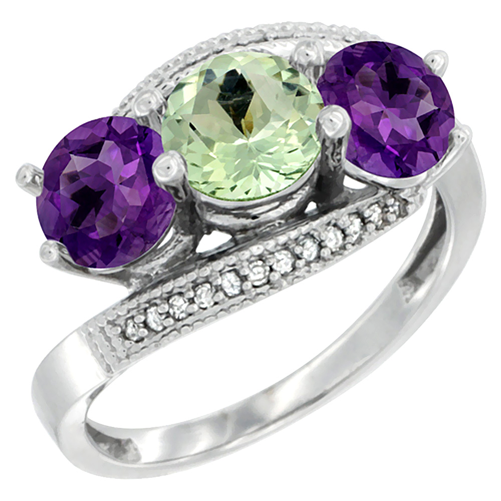14K White Gold Natural Green & Purple Amethysts 3 stone Ring Round 6mm Diamond Accent, sizes 5 - 10