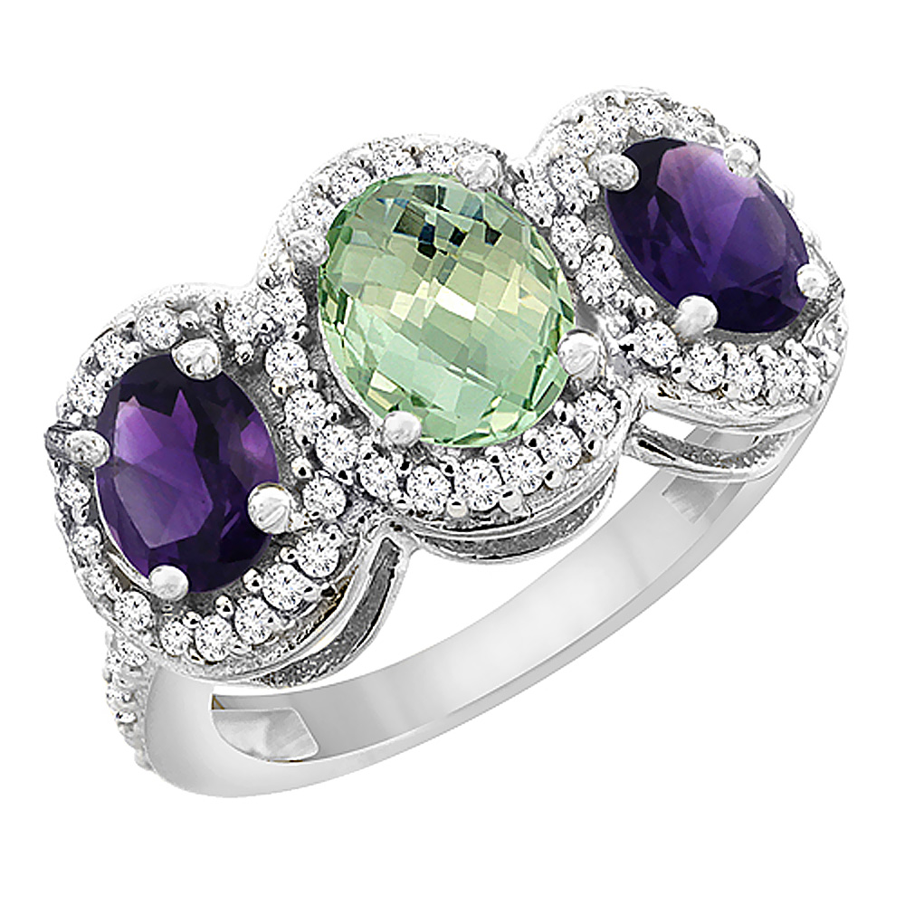 14K White Gold Natural Green Amethyst & Purple Amethyst 3-Stone Ring Oval Diamond Accent, sizes 5 - 10