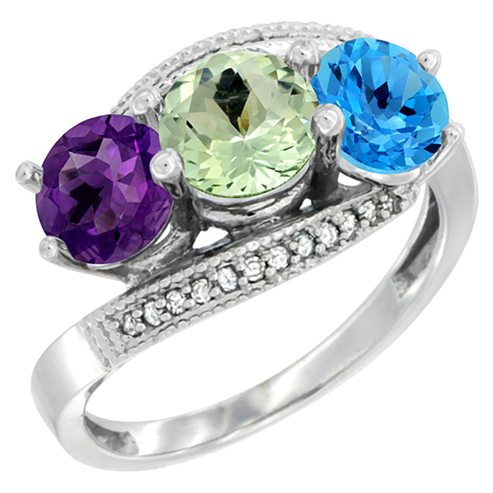 14K White Gold Natural Amethyst, Green Amethyst & Swiss Blue Topaz 3 stone Ring Round 6mm Diamond Accent, sizes 5 - 10