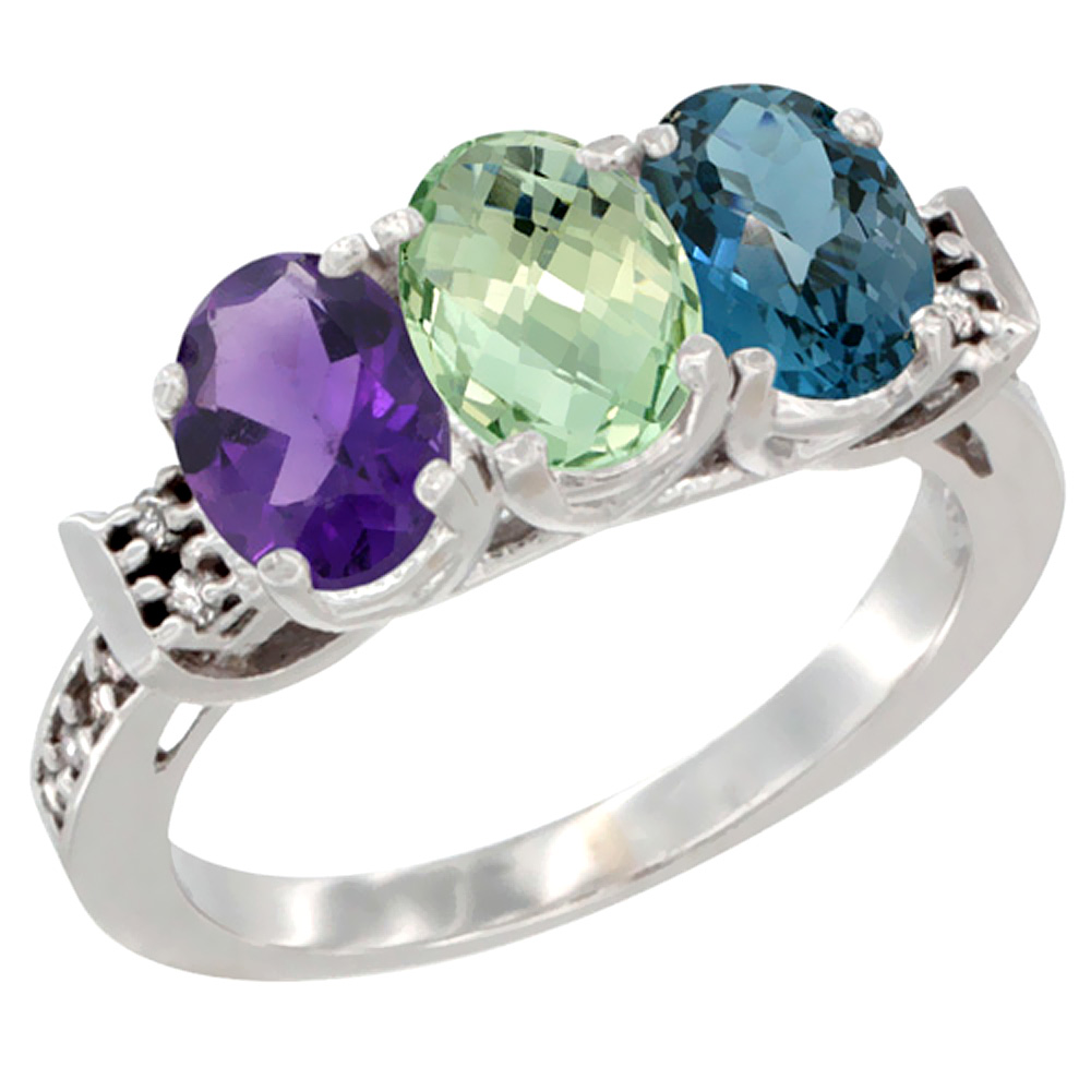 14K White Gold Natural Amethyst, Green Amethyst & London Blue Topaz Ring 3-Stone 7x5 mm Oval Diamond Accent, sizes 5 - 10