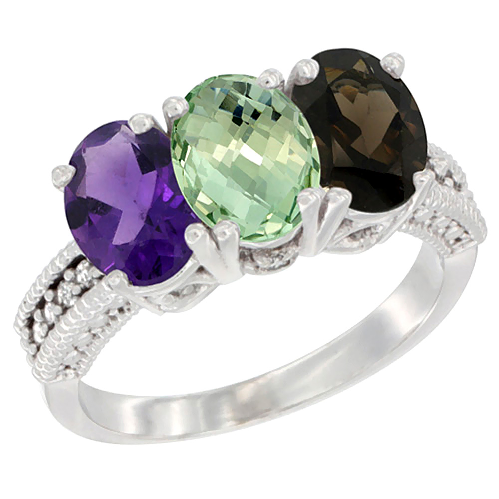 14K White Gold Natural Amethyst, Green Amethyst & Smoky Topaz Ring 3-Stone 7x5 mm Oval Diamond Accent, sizes 5 - 10