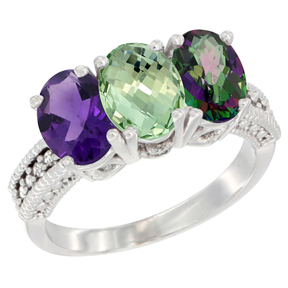 14K White Gold Natural Amethyst, Green Amethyst & Mystic Topaz Ring 3-Stone 7x5 mm Oval Diamond Accent, sizes 5 - 10