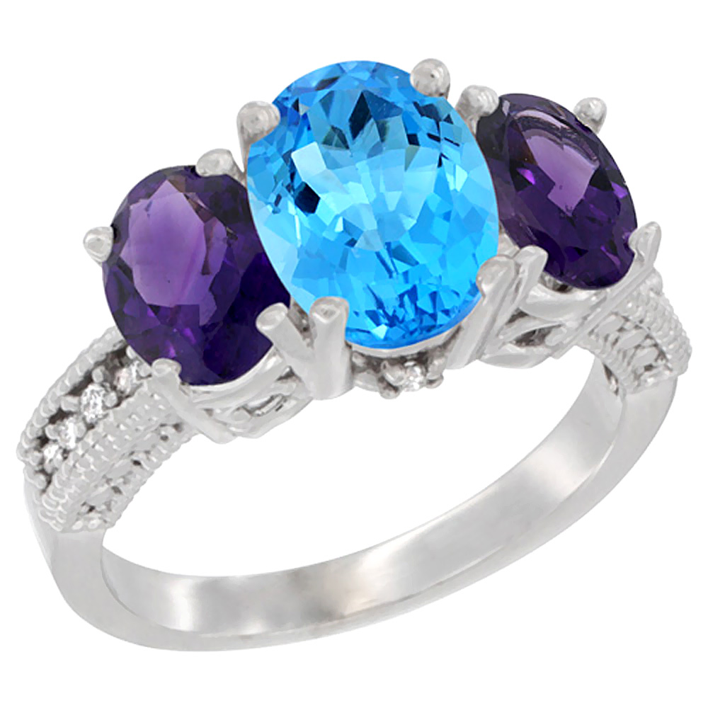 10K White Gold Natural Swiss Blue Topaz Ring Ladies 3-Stone Oval 8x6mm with Amethyst Sides Diamond Accent, sizes 5 - 10