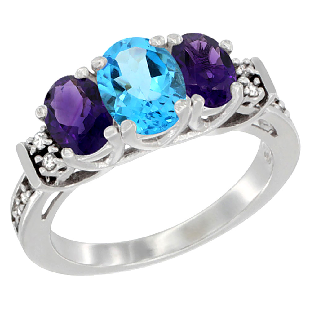14K White Gold Natural Swiss Blue Topaz & Amethyst Ring 3-Stone Oval Diamond Accent, sizes 5-10