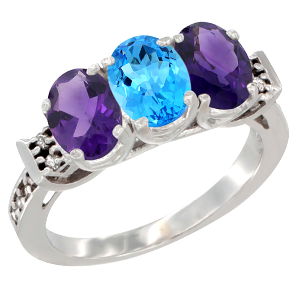 10K White Gold Natural Swiss Blue Topaz & Amethyst Sides Ring 3-Stone Oval 7x5 mm Diamond Accent, sizes 5 - 10