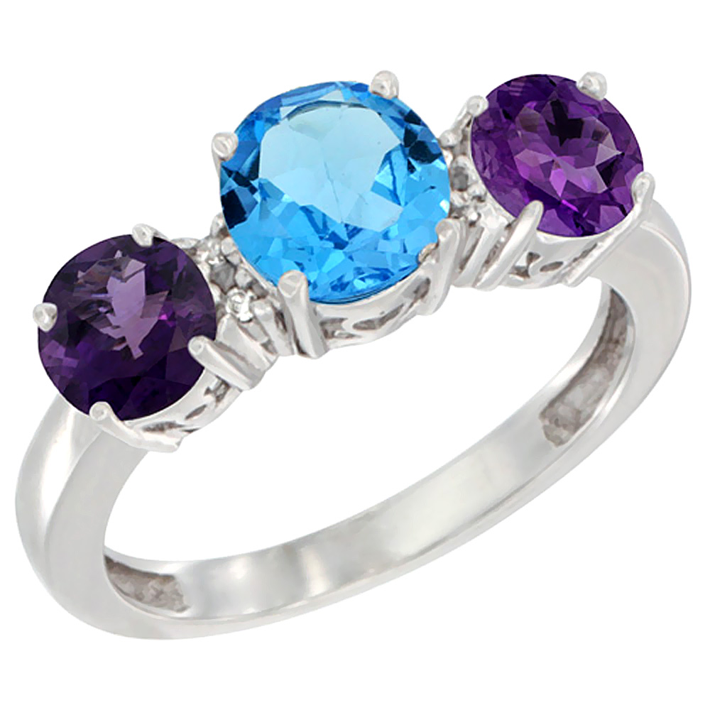 14K White Gold Round 3-Stone Natural Swiss Blue Topaz Ring & Amethyst Sides Diamond Accent, sizes 5 - 10