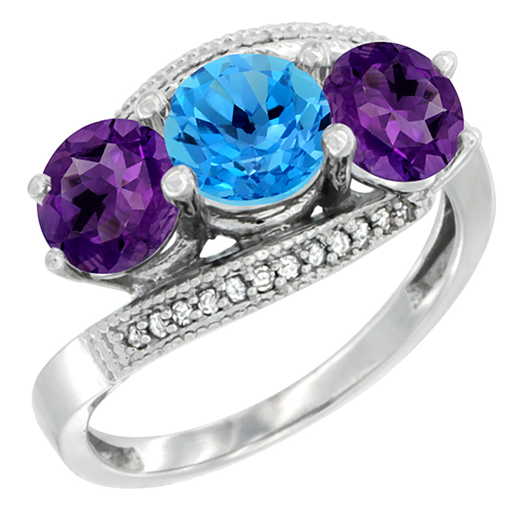14K White Gold Natural Swiss Blue Topaz & Amethyst Sides 3 stone Ring Round 6mm Diamond Accent, sizes 5 - 10