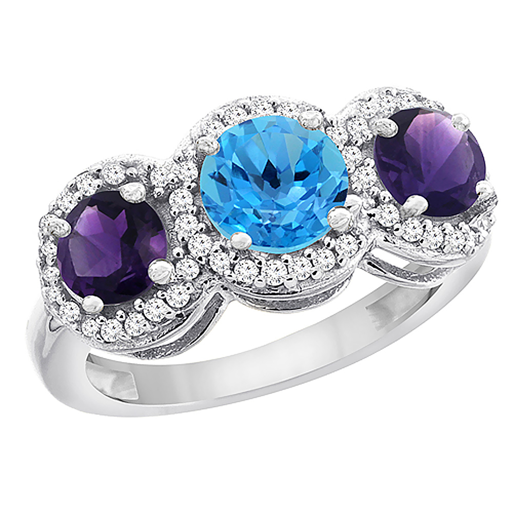 14K White Gold Natural Swiss Blue Topaz & Amethyst Sides Round 3-stone Ring Diamond Accents, sizes 5 - 10