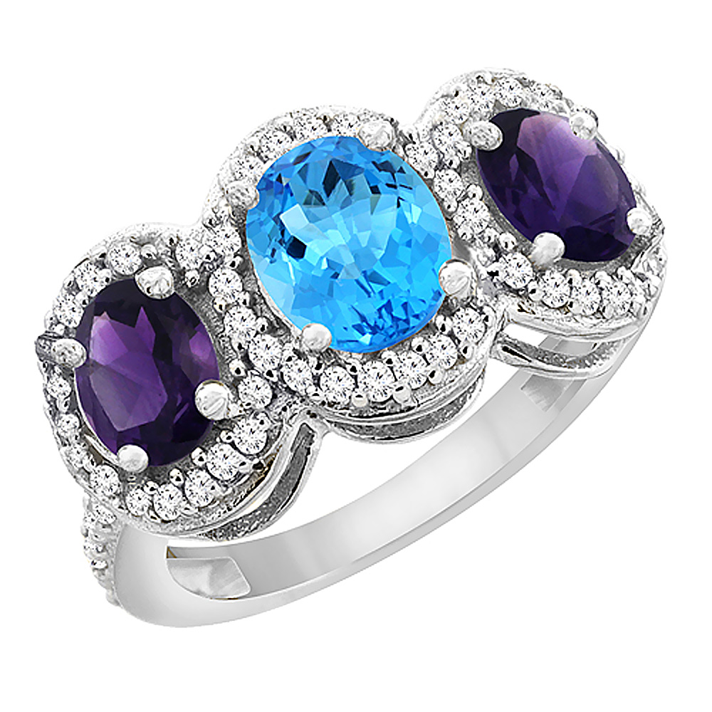 14K White Gold Natural Swiss Blue Topaz & Amethyst 3-Stone Ring Oval Diamond Accent, sizes 5 - 10