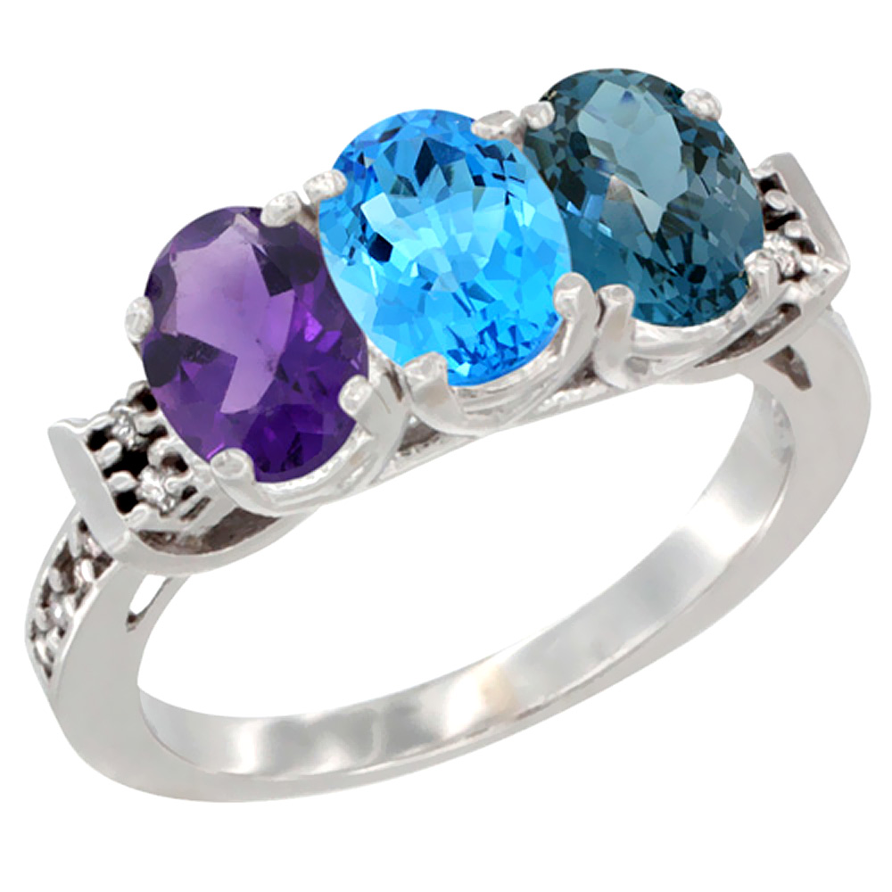 14K White Gold Natural Amethyst, Swiss Blue Topaz & London Blue Topaz Ring 3-Stone 7x5 mm Oval Diamond Accent, sizes 5 - 10