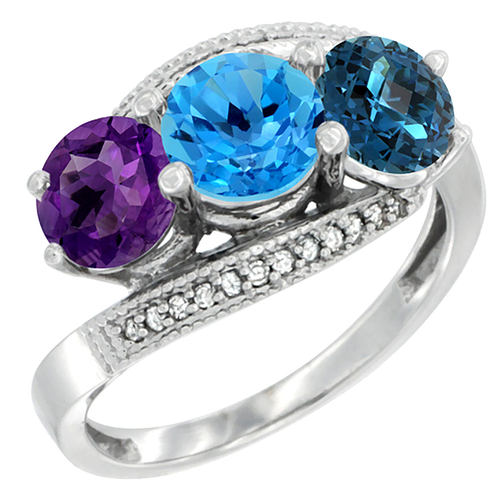 14K White Gold Natural Amethyst, Swiss & London Blue Topaz 3 stone Ring Round 6mm Diamond Accent, sizes 5 - 10