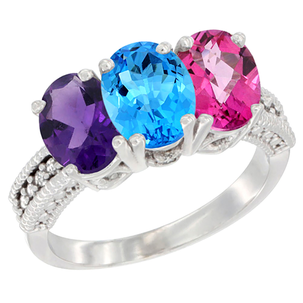 10K White Gold Natural Amethyst, Swiss Blue Topaz & Pink Topaz Ring 3-Stone Oval 7x5 mm Diamond Accent, sizes 5 - 10