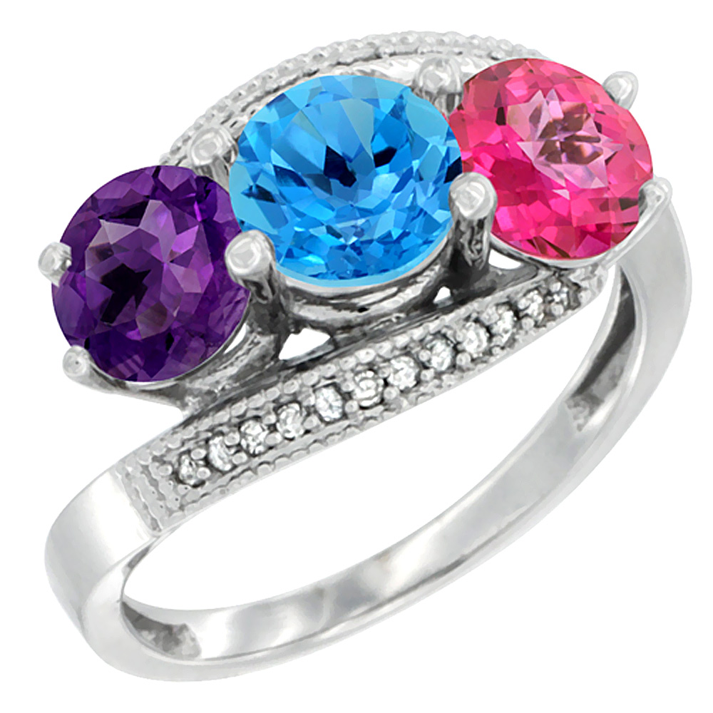 10K White Gold Natural Amethyst, Swiss Blue & Pink Topaz 3 stone Ring Round 6mm Diamond Accent, sizes 5 - 10
