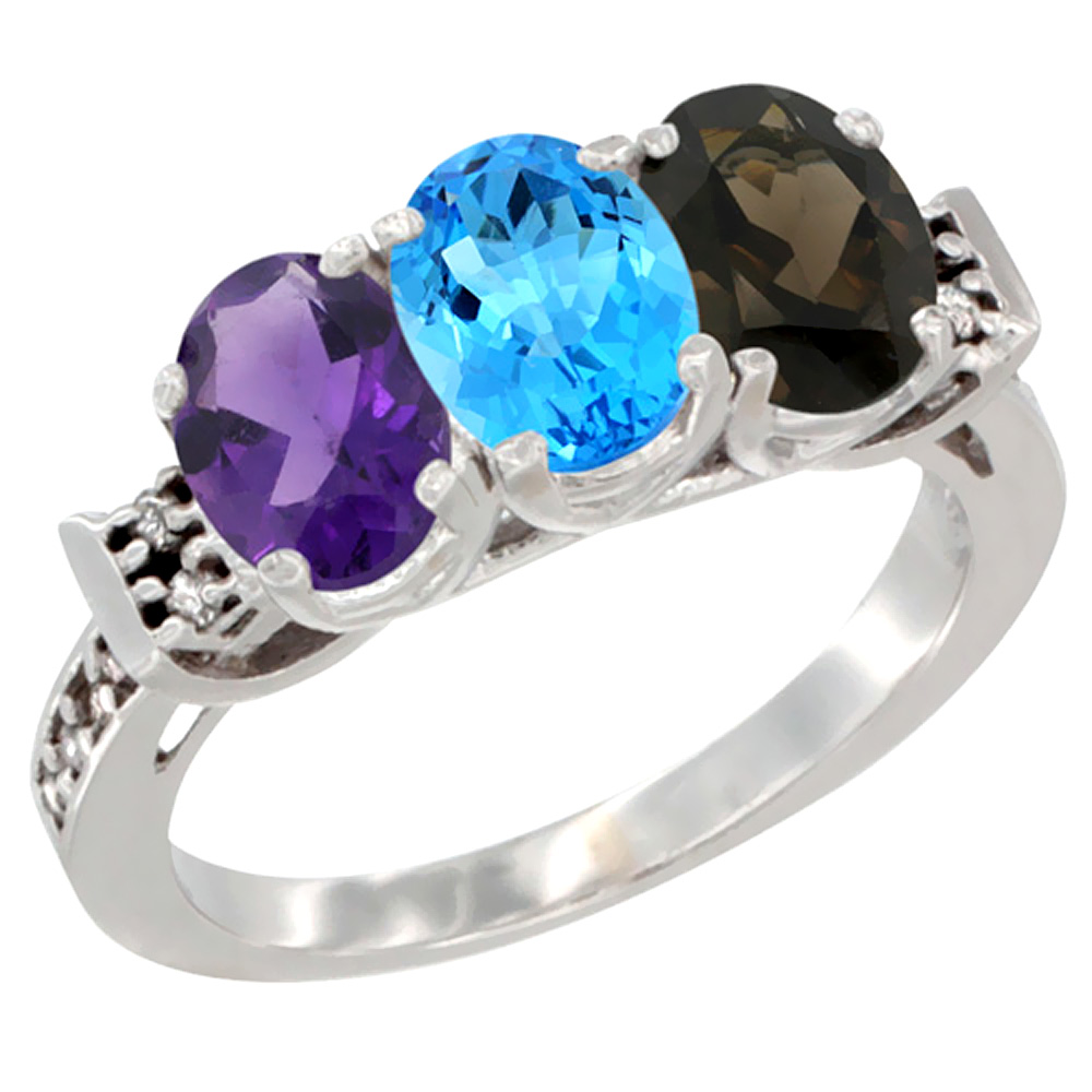 10K White Gold Natural Amethyst, Swiss Blue Topaz & Smoky Topaz Ring 3-Stone Oval 7x5 mm Diamond Accent, sizes 5 - 10