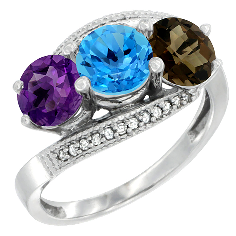 10K White Gold Natural Amethyst, Swiss Blue & Smoky Topaz 3 stone Ring Round 6mm Diamond Accent, sizes 5 - 10