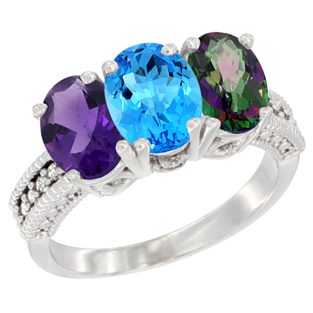 10K White Gold Natural Amethyst, Swiss Blue Topaz & Mystic Topaz Ring 3-Stone Oval 7x5 mm Diamond Accent, sizes 5 - 10