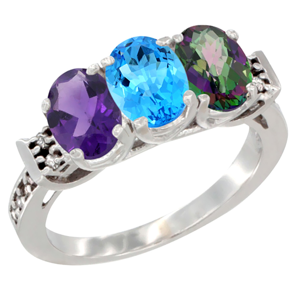 14K White Gold Natural Amethyst, Swiss Blue Topaz & Mystic Topaz Ring 3-Stone 7x5 mm Oval Diamond Accent, sizes 5 - 10