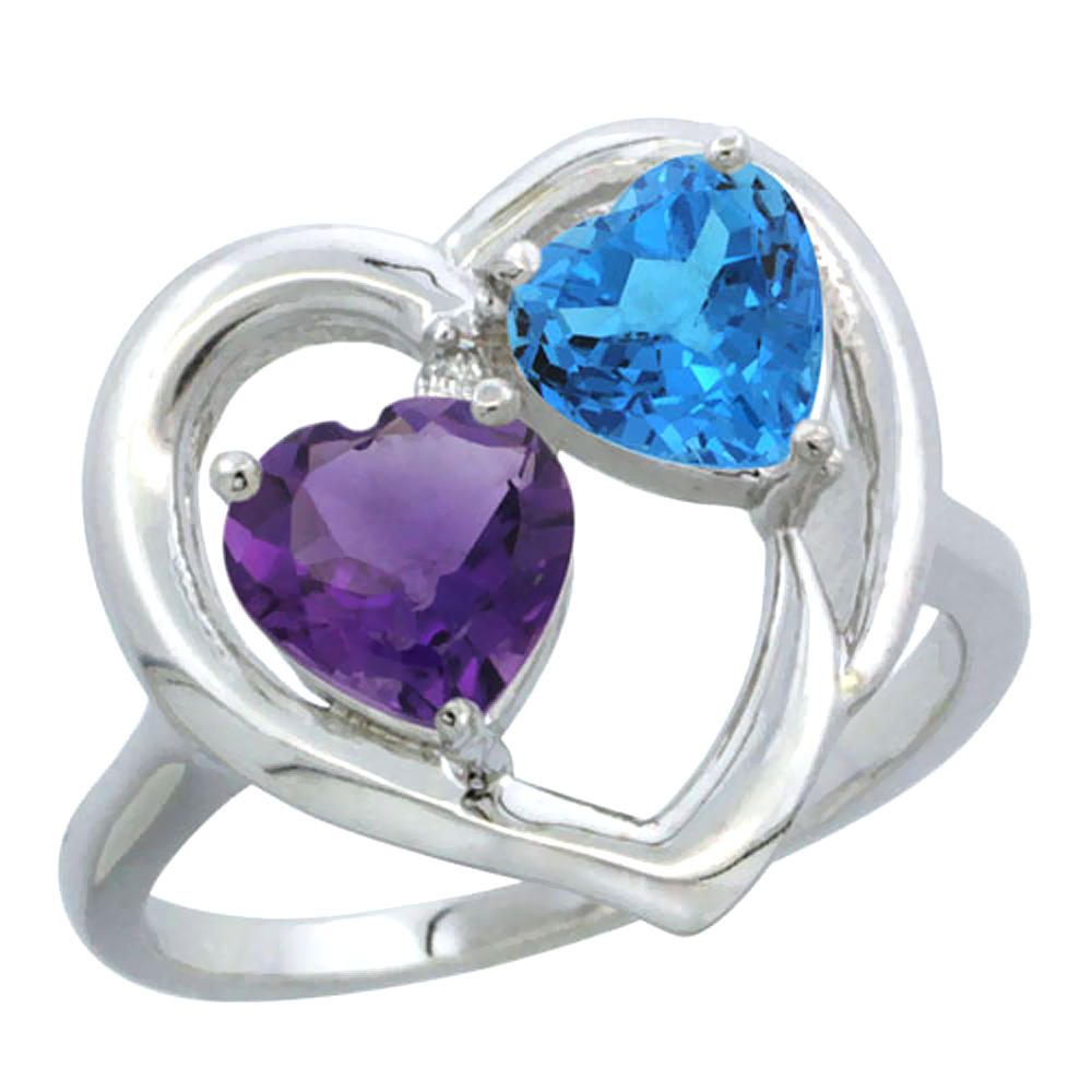 14K White Gold Diamond Two-stone Heart Ring 6mm Natural Amethyst & Swiss Blue Topaz, sizes 5-10