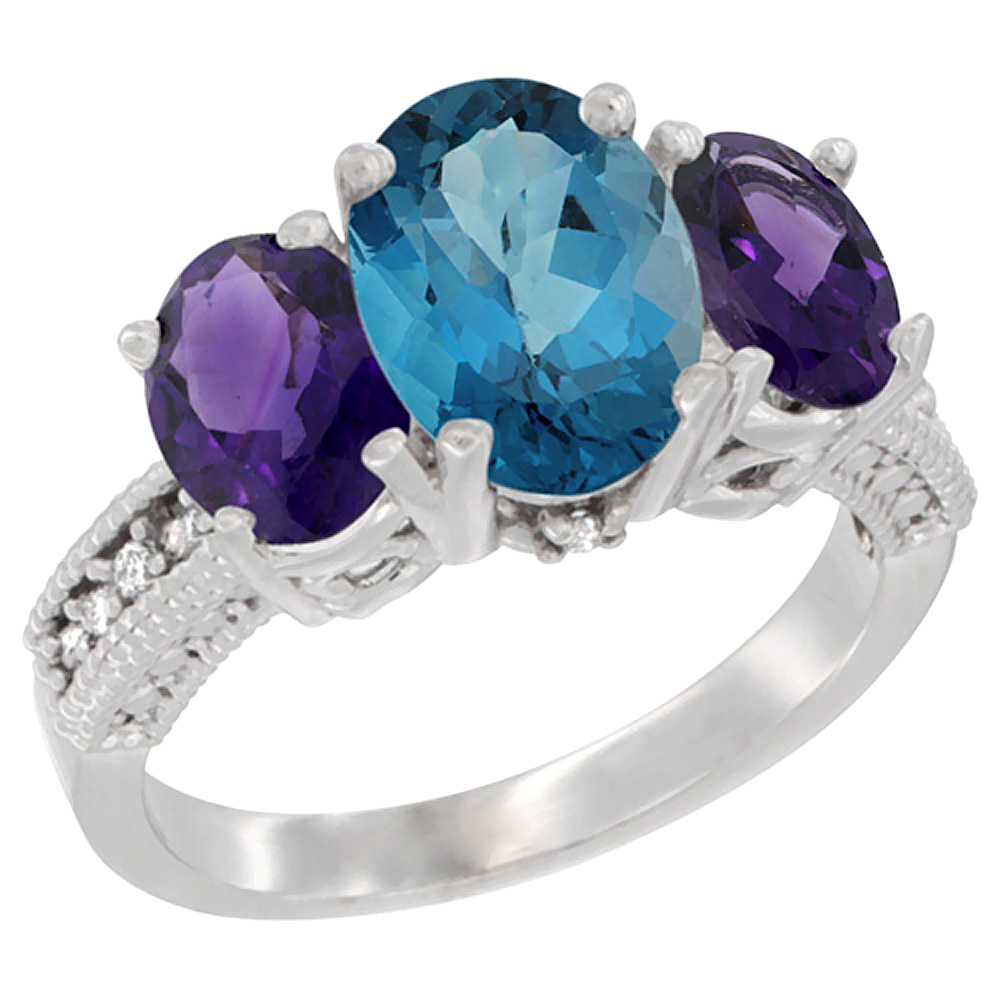 10K White Gold Natural London Blue Topaz Ring Ladies 3-Stone Oval 8x6mm with Amethyst Sides Diamond Accent, sizes 5 - 10