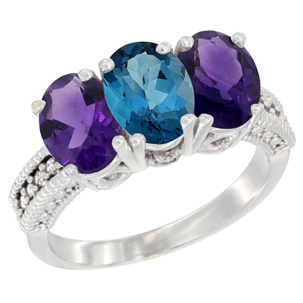 14K White Gold Natural London Blue Topaz & Amethyst Ring 3-Stone 7x5 mm Oval Diamond Accent, sizes 5 - 10